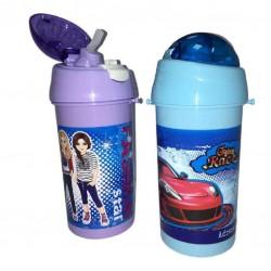 """Бутылка для воды с трубочкой 13006 """"Crazy  race"""" 550 мл"""