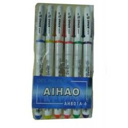Н-р гелев. р-к 6 цв. АН801А-6 (Aihao)/24бл,240ящ