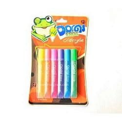 """Клей силик с блест.на карт.GG-002 3D(10.5 гр.х6цв.)""""Domi Frog""""  пастель перламутр (бл 24/144)"""