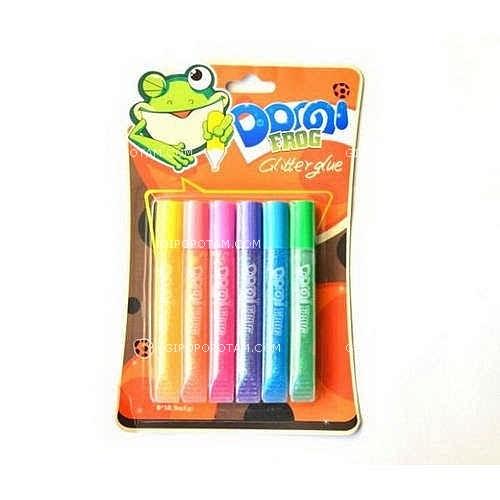 """Клей силик с блест.на карт. (6цв.х10,5гр) GG-002 3D """"Domi Frog""""  пастель перламутр (бл 24/144)"""