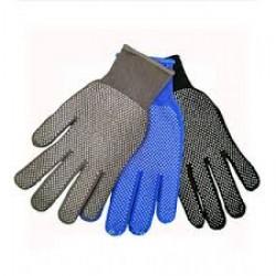Перчатки №13-1  синие, черные, серые в БЕЛУЮ ТОЧКУ  12уп, 1200меш