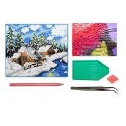 Мозаїка алмазна 5D № F1600 Зимний пейзаж 25 * 29см