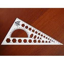 Треугольник-трансп 25см с радиусами геом фиг (белая пластм.) уп-25шт
