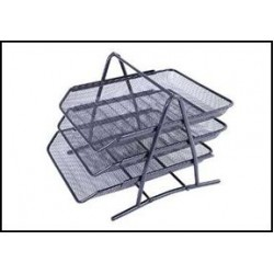 Лоток для бумаги горизонталн тройной №2003 металл черный(2001/3003-3)