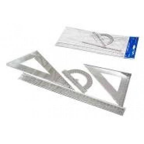 Набор линеек пластик L-114 /002/ 006 A/B белые прозрачные (лин 30см + 2 уголка+трансп)