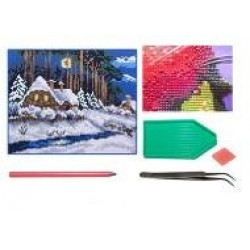 Мозаїка алмазна 5D № F1602 Зимний пейзаж 25 * 29см