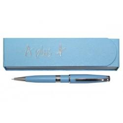 Ручка шар. А-139 Голубая с лого. (поворотка) в голуб. футляре на магните