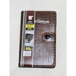 Блокн. кож. зам. на кнопке с ручкой № 810-60К коричневый  9*15,5см