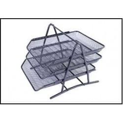 Лоток для бумаги горизонталн тройной №2003 металл серый