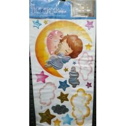 Наклейка №  ABC  интерьерная глянцевая 60*32 Озеро / Цветы / Ангел