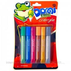 """Клей силик.на карт.GG-003  3D(10.5 гр.х6цв.)""""Domi Frog""""  металлик(мелкая фракция) (ящ 144)"""