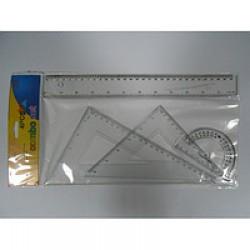 Набор линеек пластик.  8025\8026 прозрачные  (лин 30см + 2 уголка+трансп) h2mm, 40mm