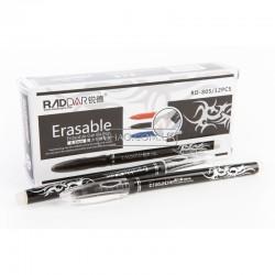 Ручка стираемая шарик. RD-805 ( черная ) пишет-резинка стирает+от зажиг исчезает  0.5мм