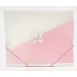 Папка А4 на резинке пластик WB-413 розовая матовая с надписью (450мк) 12уп