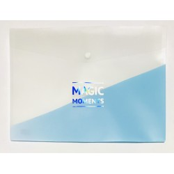Папка-конверт А4 WB-409 пластик (180мк) 33,5*23,3 /12уп голубая с надписью