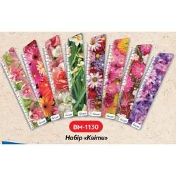 """Набор закладок картон """"Цветы"""" с линейкой 21см, 8шт (уп12) 24*5,5см"""