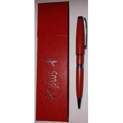 Ручка шар. А-138 Красн. с лого. (поворотка) в красн. футляре на магните