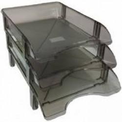 Лоток пластик для бумаги горизонталн №ЛГ-04 серый/дымчатый