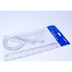 Набор линеек пластик. №PLS-16\002/8010/8011 белые прозрачн. (лин 20см + 2 уголка+трансп)