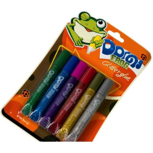 """Клей силик с блест.на карт. (6цв.х10,5гр) GG-001 """"Domi Frog""""  интенсив (бл 24/144)"""