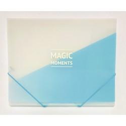 Папка А4 на резинке пластик WB-410 голубая матовая с надписью (450мк) 12уп