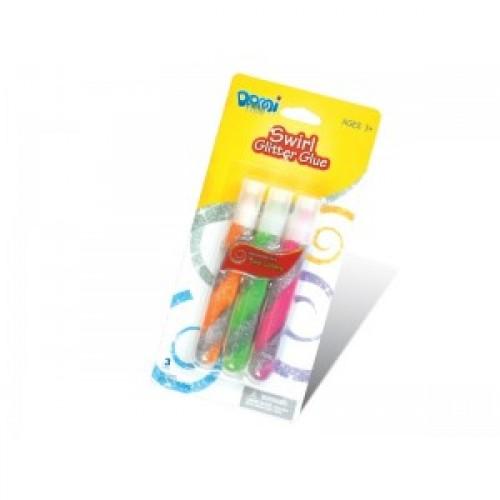 """Клей силик с блест.на карт. (3цв.х10,5гр) GG-014 """"Domi Frog"""" """"Swirl""""двух-цветная спираль (бл 12/144)"""
