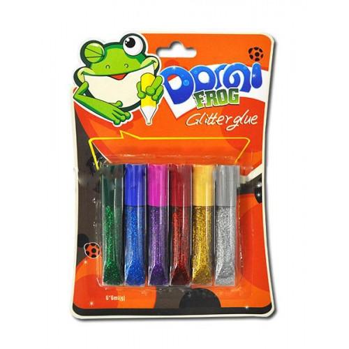 """Клей силик с блест.на карт. (6цв.х6гр.) GG-001-1 """"Domi Frog"""" интенсив (бл 24/288)"""