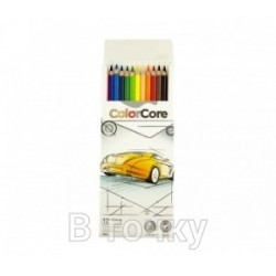 "Кар. ColorCore 12цв. №3100-12CB ""MARCO""  Авто (грифель 4мм) + 1 графитн.каранд  (грифель-2,9мм)"