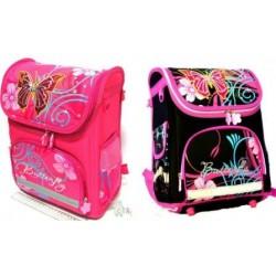 Ранец  №13001-F Бабочки розовый и черный каркасный раскладной 35х27.5х15