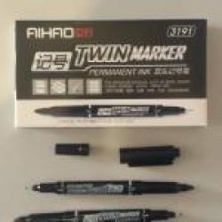 """Маркер """"Aihao""""  AH3191 двухсторонний (круглый + перманентный черный)"""