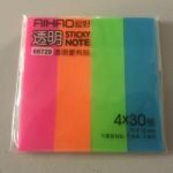 Стикеры самокл. Aihao 66729 Неон (4шт*30 \ 76мм*19мм) пластиковые цветные/40уп