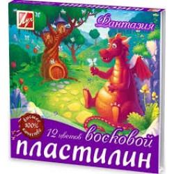 """Пластилин .12цв """" Фантазия """" восковой со стеком 210гр (Луч)"""
