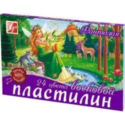 """Пластилин .24цв """" Фантазия """" восковой со стеком 210гр (Луч)"""