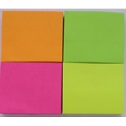 Стикеры самокл. Jie Jian B4-4 (4шт\ 46мм*33мм)100л. бумажные цветные неон/12уп,288ящ
