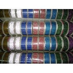 Декотаривная лента 7664/12020-1 ажурная с глитером пластик. на клейкой основе 1м*1,5см (8цв. микс)