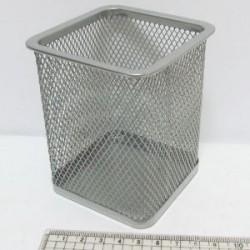 """Подставка для ручек DSCN3545_S """"Квадратная"""" метал. 8*8*9,5см серебро"""