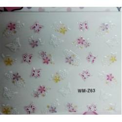 """Декор для ногтей №WM-Z """"Бабочки, цветочки""""  (7*9,5см)"""