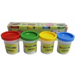 Масса для лепки/Play dough 289-014 Веселе тісто (4цв по 35 гр) в баночках, карт. уп