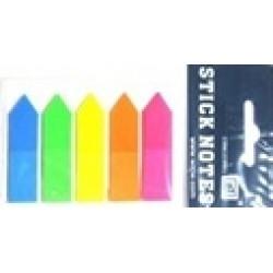 """Стикеры самокл. пластиковые РЕТ-914/DSCN5181-А/42330 """"полоски"""" 5цв*25л, неон,4,5*1,2см PVC"""