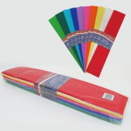 Бумага креповая 100% №KR110-MIX 10 цветов 50*200см, 20г/м2 (10 уп)