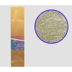Бумага креповая 30% №KRM-8061 МЕТАЛЛИК ЗОЛОТИСТЫЙ 50*200см, 20г/м2 (10 уп)