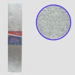 Бумага креповая 30% №KRM-8060 МЕТАЛЛИК СЕРЕБРИСТЫЙ 50*200см, 20г/м2 (10 уп)