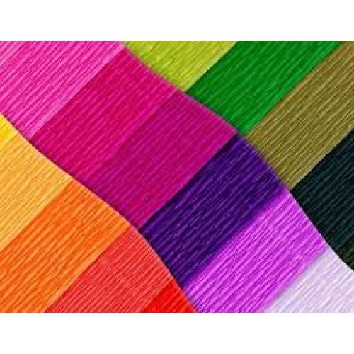 Бумага креповая 30% №KRFL-mix ФЛУОРЕСЦЕНТНЫЙ 10листов/7 цветов 50*200см, 20г/м2 (10 уп)