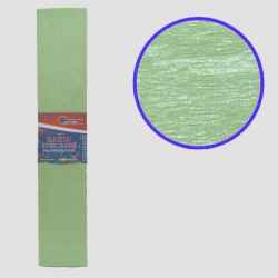 Бумага креповая 30% №KRPL-80102 ПЕРЛАМУТРОВЫЙ ЗЕЛЕНЫЙ 50*200см, 20г/м2 (10 уп)