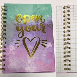 "Тетр.на спир. А5 №4050 ""Open your heart"" фольга, 100л., тв.обл.,клетка"