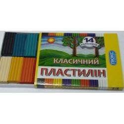 """Пластилин """"Люкс Колор"""" КЛАССИЧЕСКИЙ 14 цв 250 г в пенале  арт. ПО-47183"""