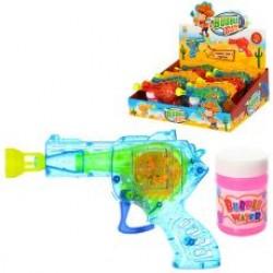 """Мыльные пузыри пистолет QL929A """"Пистолет"""" со светом,15см+запаска,3цв"""