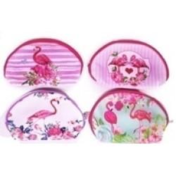 "Косметичка 230 ""Фламинго в цветах"" 4 вида, 20,5*14*7см"