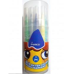"""Фломастеры """"Marco"""" 1633-21PD 21 цвет, кисточка, в пластиковом тубусе (легко смываются)"""