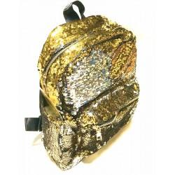 "Рюкзак кож.зам. 13615 ""Пайетки двухстор"" Золото/Серебро 32*25см"